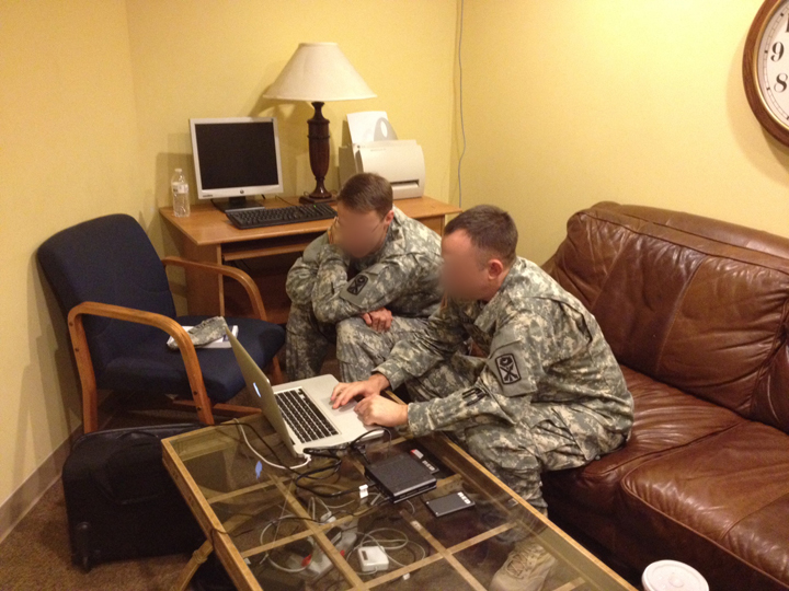 Army checking footage blur