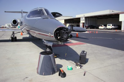 Prepping the nose camera on the Wolfe Air Lear 25