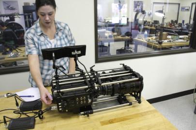 Annette Gaillard (Artbeats camera tech) doing prep work on the two RedONE cameras.