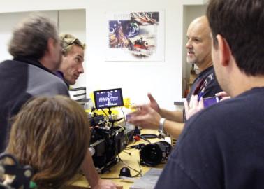 Stereographer Ken Corben and OptiTek founder Jacek Jakowicz calibrating the lenses.