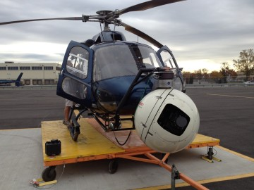 The AStar Eurocopter ready to lift off from our base at Newark.