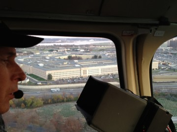 Doug Holgate filming the Pentagon.