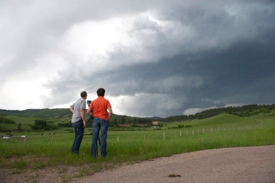 Here I am filming the storm as it approached from the northwest. Skip Talbot is standing next to me. Photo by Jennifer Brindley.