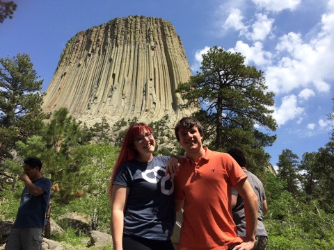 Jennifer Brindley and Skip Talbot in front of Devil's Tower (the site of the Close Encounter's close encounter)