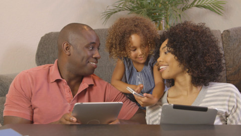Family connecting to social media