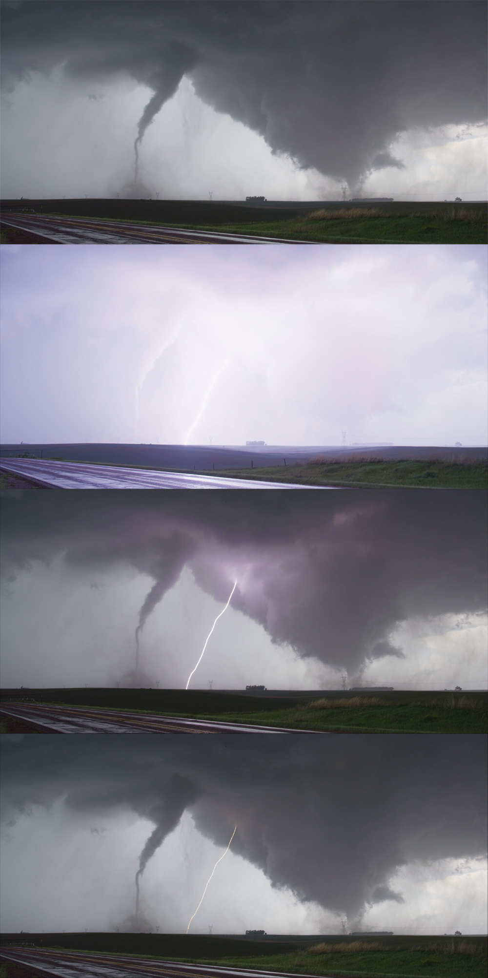 These images show the positive lightning strike between the two tornadoes.