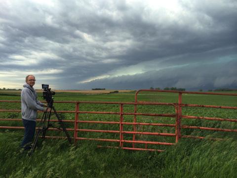 Shooting the shelf cloud. Photo by Jennifer Brindley Ubl