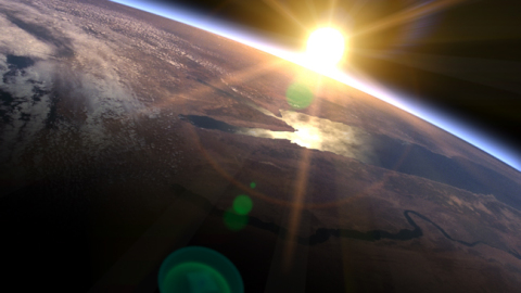 RBL114 (from Orbital 1) - Sunrise over Earth's horizon as if viewed from space