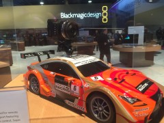 Blackmagic camera on mini sports car